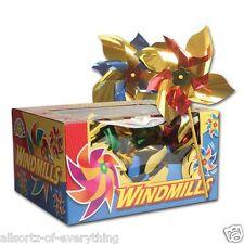 12 x Foil 18cm Garden Windmill - Assorted Colours Windmills