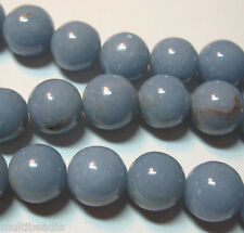 "Blue Angelite 10mm Round Beads 16"" Spacer Accent Natural Stone Untreated Color"