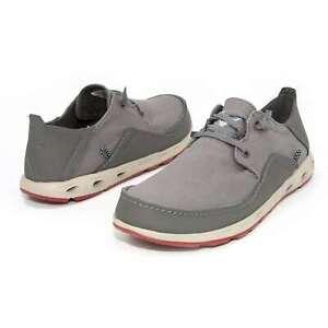 Men Columbia Bahama Vent Relax PFG Shoes Dark Grey Canvas Boat Shoes NEW