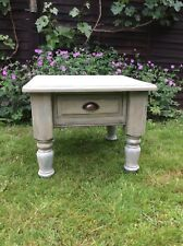Chunky Vintage Style Farmhouse Shabby Chic Solid Pine Square Table With Drawer