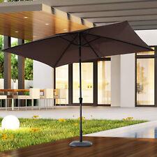 Outsunny 2x3M Sun Umbrella Parasol Tilt Outdoor Canopy Crank Aluminium Brown