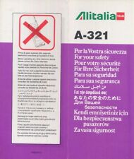 ALITALIA Team Italian Airline A 321 SAFETY CARD air folder brochure sc837 aa