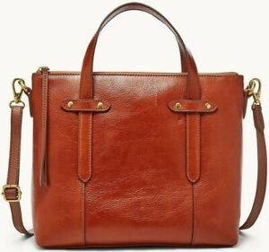 Fossil Felicity Satchel Medium Brown Leather Brass SHB1980210 NWT $178 Retail FS