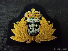 NEW Queen's Crown QC Royal Navy Officer's Bullion Cap Badge