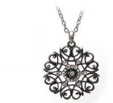 collar cadena larga colgante redondo medallon strass romantico gotico