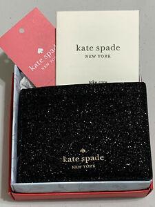KATE SPADE Black Lola Glitter Sparkle Small SLIM CARD HOLDER $69 no box