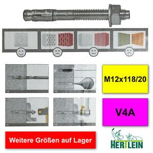 Fixanker Betonanker Schwerlastanker M12x118, Edelstahl