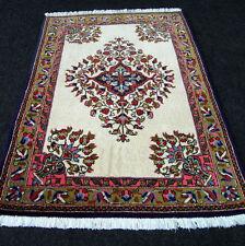 Orient Teppich Seide 94 x 67 cm Perserteppich Brücke Beige Silk Carpet Rug Tapis