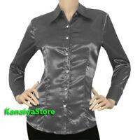 Grau Frauen Satin Button Down Solid Kragen Shirts Langarm Bluse