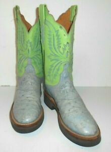 8 B Lucchese 2000 Full Quill Ostrich Robin Egg Blue & Lime Green crepe sole
