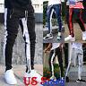 Men's Contrast Sports Pants Zipper Pocket Tracksuit Joggers Trousers Sweatpants
