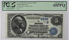 * 1882 First National Bank Attleboro Second Charter 2nd Issue $5 PCGS EF45