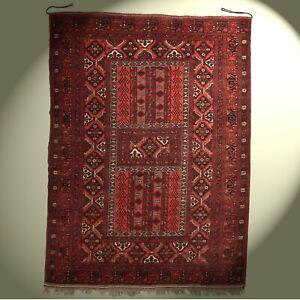 Fantastischer Hatschlou Teppich Afghanistan 215x155 rot Afghan rug Tapis Tappeto