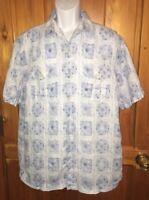TOMMY BAHAMA Men's Shirt Aloha HAWAIIAN Floral LINEN Blue LARGE L EUC