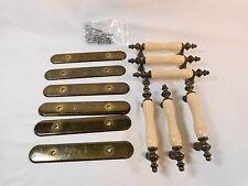 """Vintage BRASS DRAWER PULLS Set of 6 with Back Plate LIGHT BEIGE Ceramic 3"""" Holes"""
