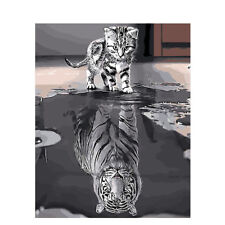 Paint By Numbers - DIY acrylic Painting Picture Art - Kitten & Tiger