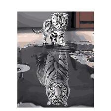 Malen nach Zahlen - DIY Acryl Malerei Bild Kunst - Kätzchen & Tiger