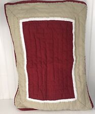 Pottery Barn Quilted Sham Standard red/Burgundy with Tan #2
