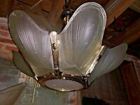 "10 AVAILABLE  Murano Art-Deco-Slip Shade 25"" Chandeliers"