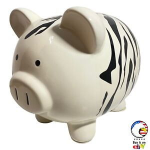 FAB STARPOINT • Large Zebra Print Piggy Bank • Vintage  Coin Collector 🦓🐽🪙🏦