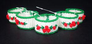 5 Holiday Napkin Rings Plastic Canvas Needle Craft Needlepoint Xmas Christmas