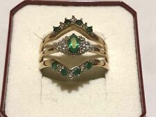 9K Triple Gold Ring .65ct Emerald and .20ct Diamond