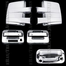 Chrome Covers For FORD F150 2009-2014 Full Towing Mirrors+Doors Pad+Tailgate K C