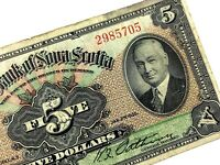 1935 Nova Scotia 5 Five Dollar Canada Chartered Circulated Banknote M368
