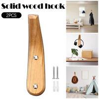 2pcs Wooden Towel Coat Hook Wall Hooks Clothes Hat Hanger Towel Rack Organizer