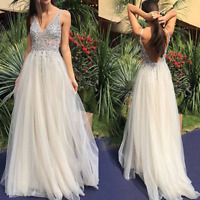 Sexy Women V Neck Backless Sequin Formal Party Ball Gown Evening Cocktail Dress