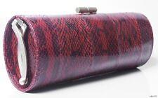 new $1195 JIMMY CHOO red snakeskin leather Kisslock TUBE CLUTCH BAG - fabulous