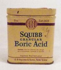 Vintage Squibb Granular Boric Acid Tin Advertising Medicinal