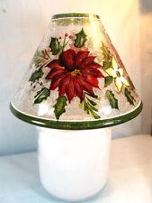 Holiday Bloom Crackle Glass Jar Shade Home Decor