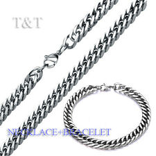 T&T 7mm 316L Stainless Steel Curb Chain Necklace with Bracelet SET