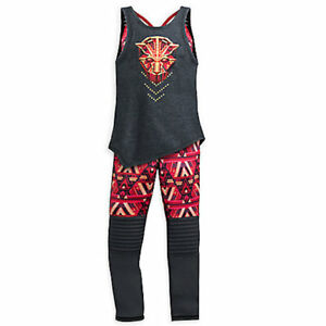 NWT Disney Store Black Panther Tank Top Pants Set Our Universe Active Wear Girls