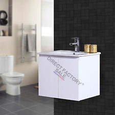 610X460MM Bathroom Vanity Cabinet Square Single Ceramic Basin White Wall Hung