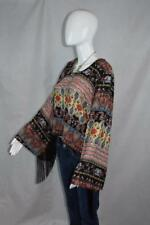 Friday Made in Los Angeles sz M Gorgeous Bell Sleeve Floral Blouse with Fringe