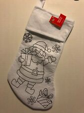 "Christmas Stocking Santa Claus, White To Color Or Paint 16 1/2"" Crafts"