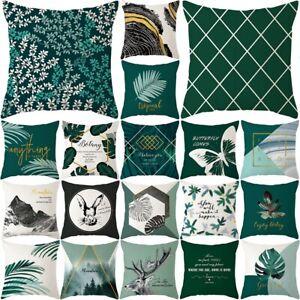 Printed Pillow Case Green Plants Throw Cushion Cover Sofa Home Decor Pillowcase