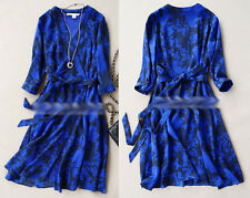 100% Pure Silk Stunning Royal Blue Cocktail Party Womens Wrap Dress Size Small