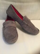 Bass Suede Leather Women Gray Slip On Moc Driving Loafer Bass Bentley US 11M