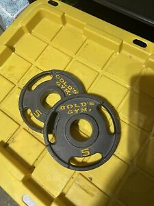 "VINTAGE 5 Lb Golds Gym 2"" Olympic Grip Weight Plates Set Of 2 - 10 lb Total"