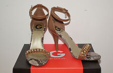Sz 9m G by Guess Dressy Med Brown HEELS W/snakeskin Trim
