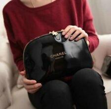 CHANEL XL Black PU Make up Bag with Snowflake CC Logo zipper NEW. UK Seller