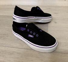 NEW VANS Era Laceless (elastic) Black Purple Shoes Young Girls Size 11.5