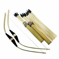 2 Pack - Archery Set Bow and Arrow Handmade Wooden, 20 Wood Arrows and 2 Quivers