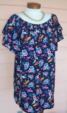 COOL Tunic Top Sz 3X NAVY Parrots Macaws On or Off Shoulder Blouse Side Slits