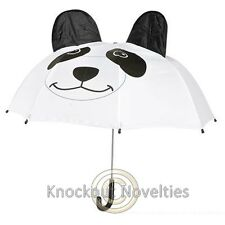 Panda Umbrella Bear Black White Easy Open Rain Raining Water Handle 3D Animal