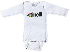 Classic Cinelli Script Baby Infant One Piece Short & Long Sleeve Cycling Italian