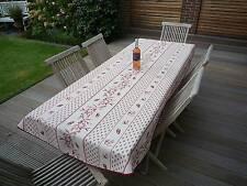 Tischdecke Provence 150x240 cm oval creme rot Zikadenmotiv Frankreich bügelfrei